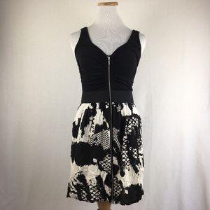 2b Bebe Womens Black & White V-Neck Midi Dress S